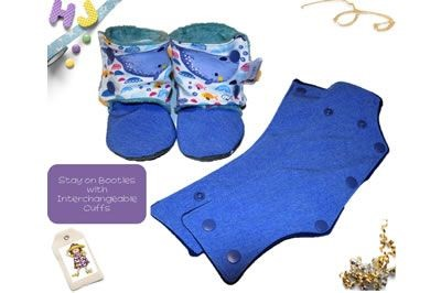 Click to order 9-12m Stay on Booties with Interchangeable Cuffs Whales now